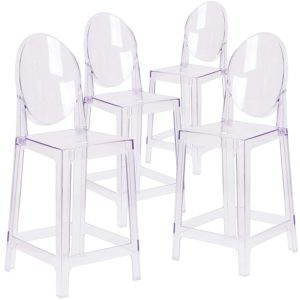 Clear Ghost Bar Stools with back