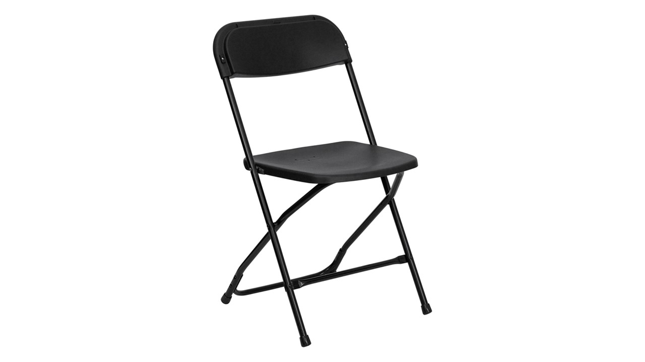 Exceptionnel A Folding Chair Affordable Plastic Black For Rent