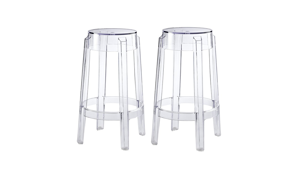 Bar stools clear ghost backless for rent
