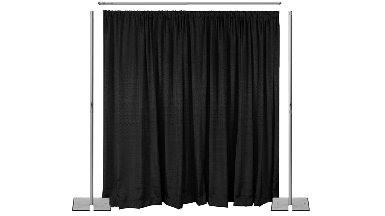 Pipe Drape With Black Curtains 8ft Hi 10ft Wide