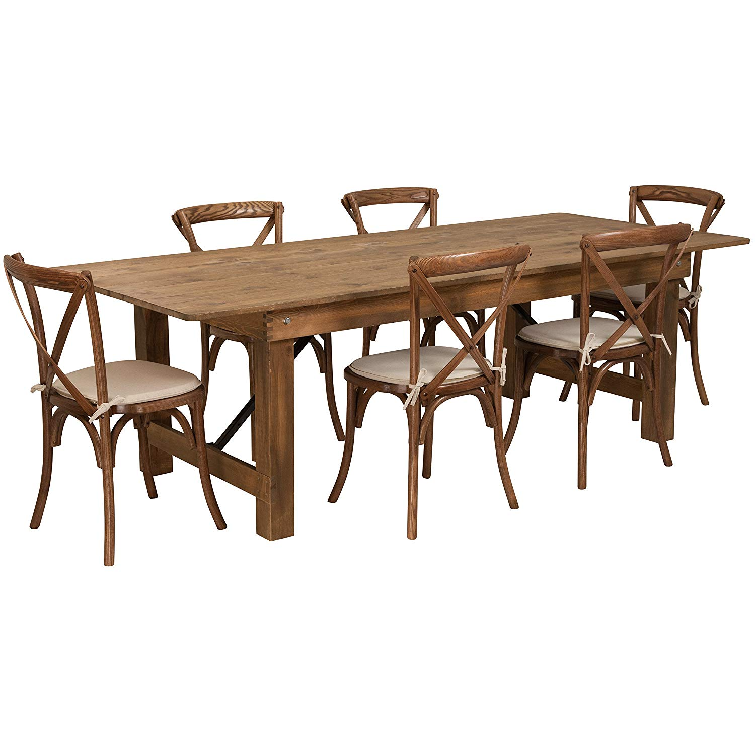 rustic farm table with 6 cross back chairs and burlap cushions party rentals nyc new york. Black Bedroom Furniture Sets. Home Design Ideas