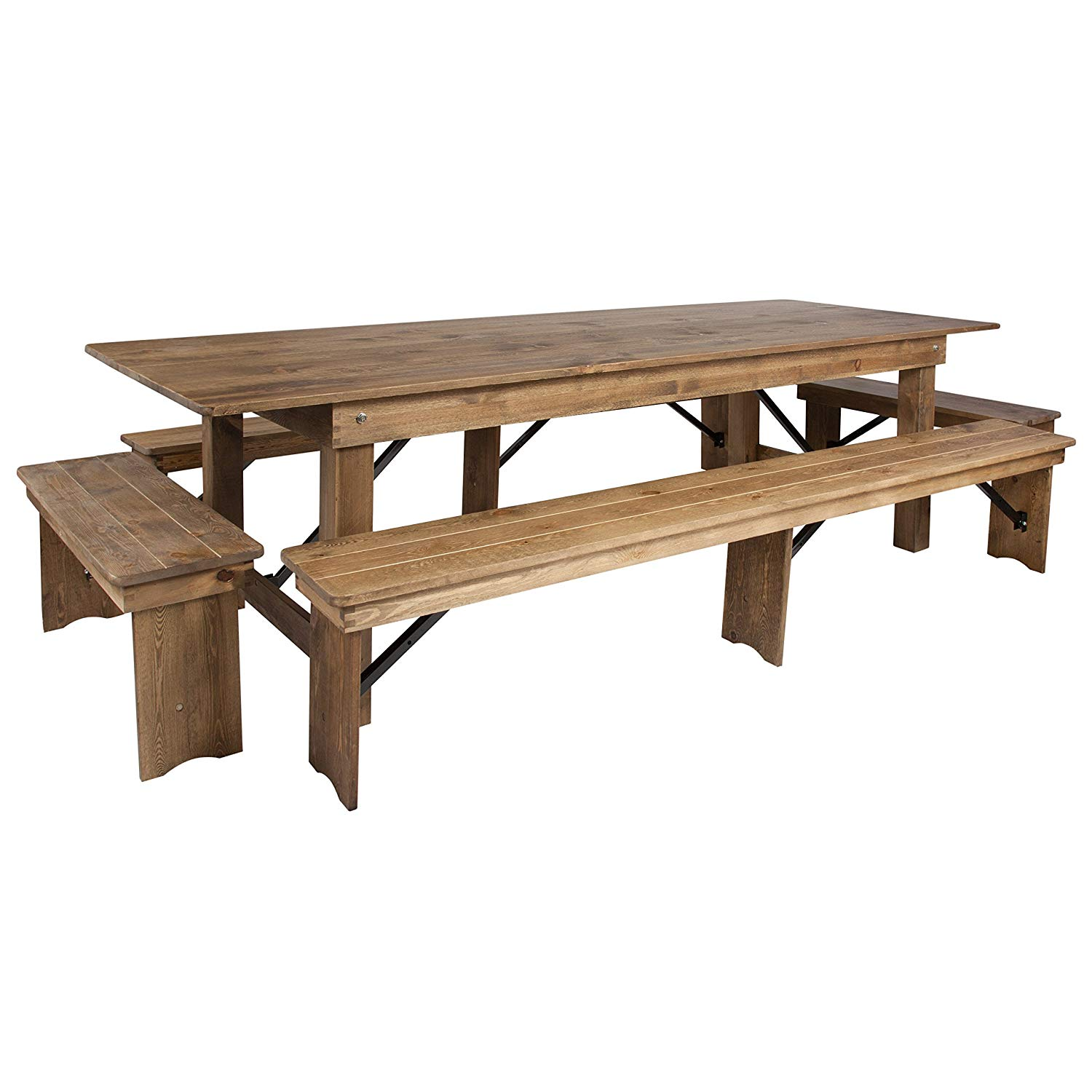 Farm Table With Bench And Chairs: S Rustic Farm Table Set 8ft X 40in With 6 Benches
